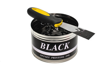 Black Offset Printing Ink With An Ink Knife