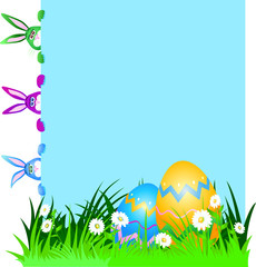 Rabbits and Easter eggs, background