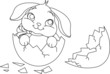 Easter bunny surprise. Coloring page