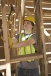 Labourer works on building construction