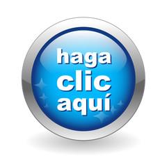 """Botón Web """"HAGA CLIC AQUI"""" (click here button ratón conexión go)"""