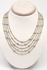 18k white and yellow gold five strand necklace with 44 carats of diamonds