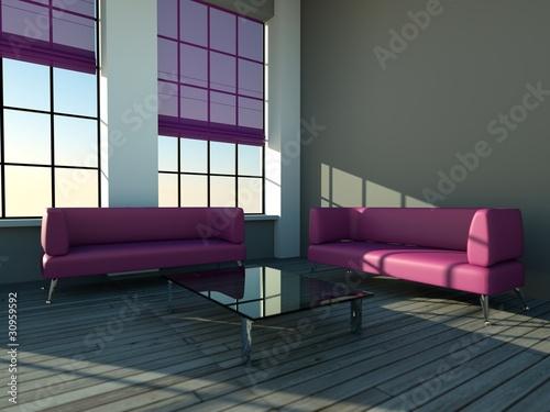 loft mit lila sofa und glastisch von virtua73. Black Bedroom Furniture Sets. Home Design Ideas