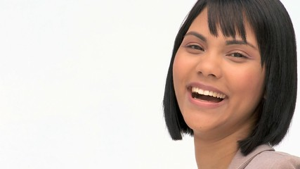 A good looking asian woman smiling