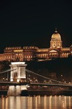 Night cityscape of the St Stephen's Basilica in Budapest, capital of Hungary