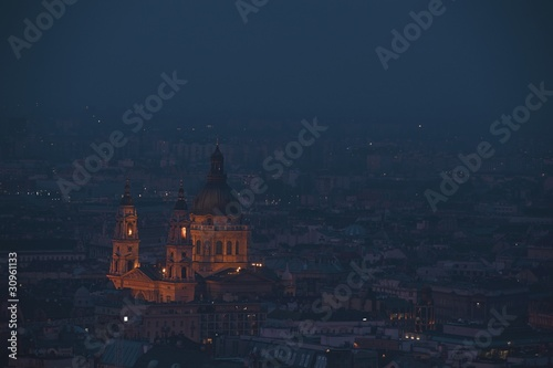 Dusk cityscape of the St Stephen's Basilica in Budapest, capital of Hungary