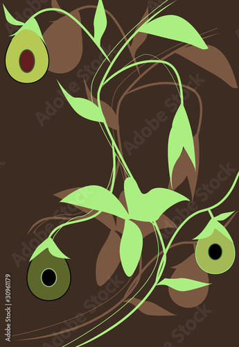 Abstract illustration with avocado