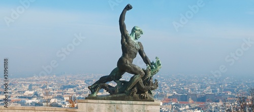 Statue of St George the Dregon Killer on Gellert hill in Budapest, capital Hungary
