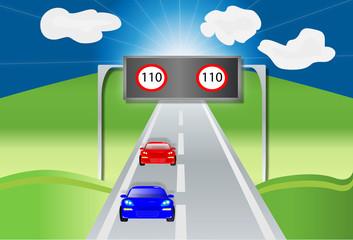Paisaje con señal de velocidad a 110 km/h
