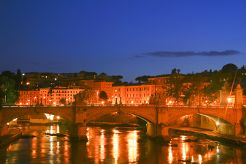 View from Bernini's Ponte Sant' Angelo in Rome, Italy