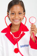 portrait of cute indian girl in doctors clothing