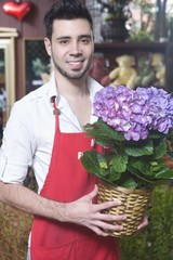 Florist stands with hydrangea