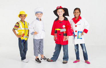 kids dressed up in career uniforms