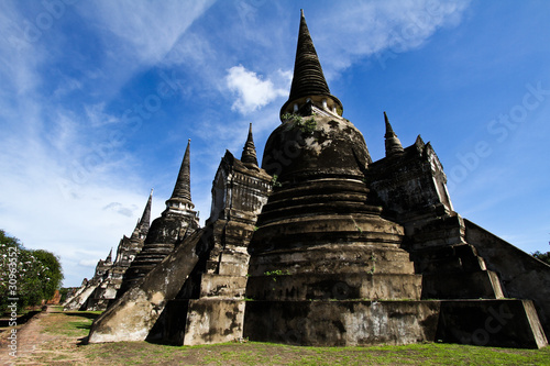 Three pagodas of Wat Phra Si Sanphet, Ayutthaya in thailand