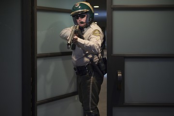 Nightwatch patrolman at doorway with rifle