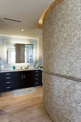 Bathroom interior with large curved wall