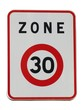 Panneau de zone de limitation de vitesse à 30 km/h