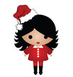 Cute Lady Christmas isolated on white background