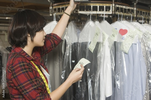 Woman working in the laundrette