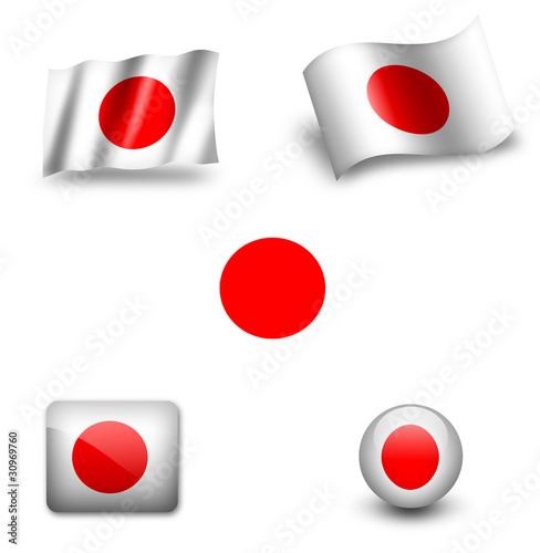 japan flag icon set