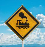 traffic sign - beware train poster