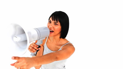 Asian woman shouting through a megaphone