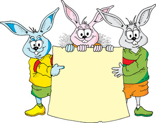 Image of three Easter Bunnies holding a blank sign.