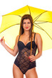 girl in lingerie posing with umbrella