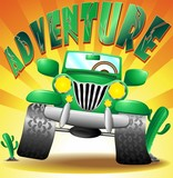 Jeep Geep Auto Fuoristrada Avventura Adventure-Vector poster