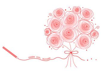 母の日の花束と鉛筆と文字