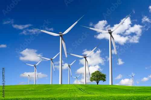 Zdjęcia na płótnie, fototapety, obrazy : Wind turbines farm on green field