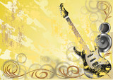 Abstract grunge background with acoustic guitar and speakers