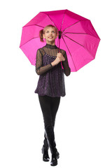 Pretty girl with pink umbrella. Isolated over white