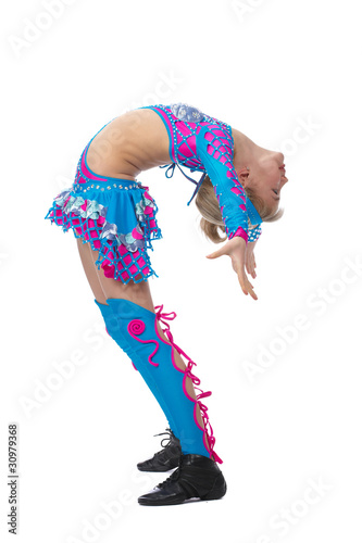 Young girl gymnast, isolated on white