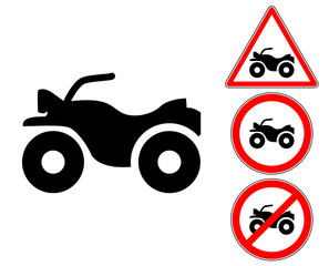 Quad pictogram warning and prohibition signs
