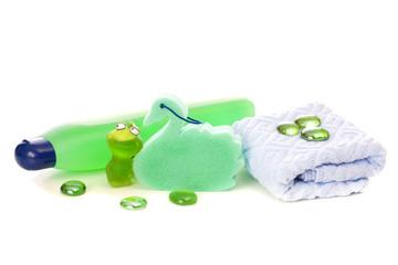 Towel and shampoo