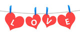 Love word on heart on clothesline.
