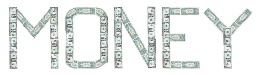 Money word from Us dollar isolated background.