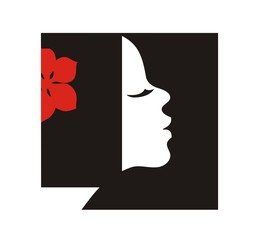 Simple logo of  woman  profilewith flower in hair