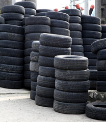 stacked tires