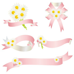 white daisy with ribbon