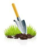 garden scoop and grass vector