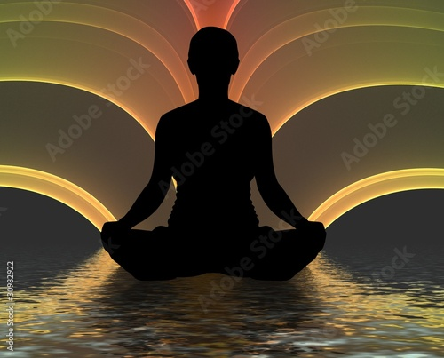 Meditating silhouette