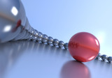 Leadership concept. Red sphere and multiple chrome spheres.