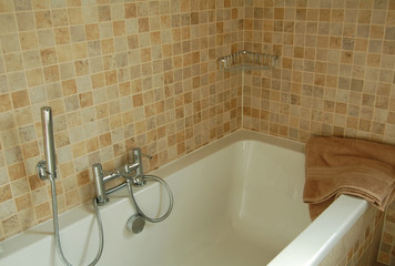 modern bath and tiles