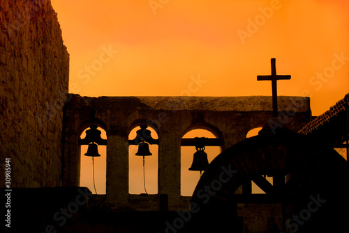Bells and Cross at Mission San Juan Capistrano