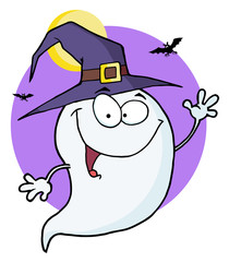 Happy Halloween Ghost Flying In Night