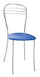 Metal chair with a soft blue seat