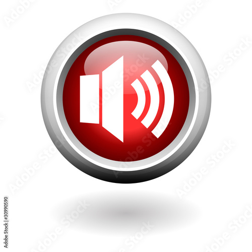 Speaker Icon on Red Round Button