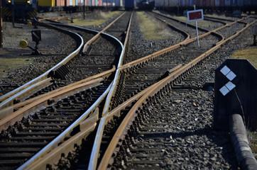 Schienenstrecke mit Weiche